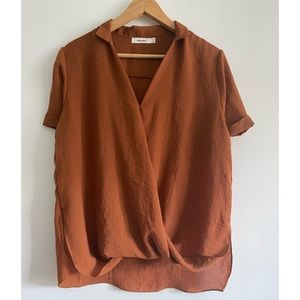 Mod Ref - Silky rust draped blouse